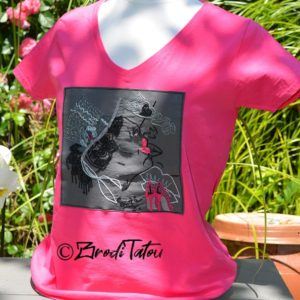 tee shirt brodé main rose