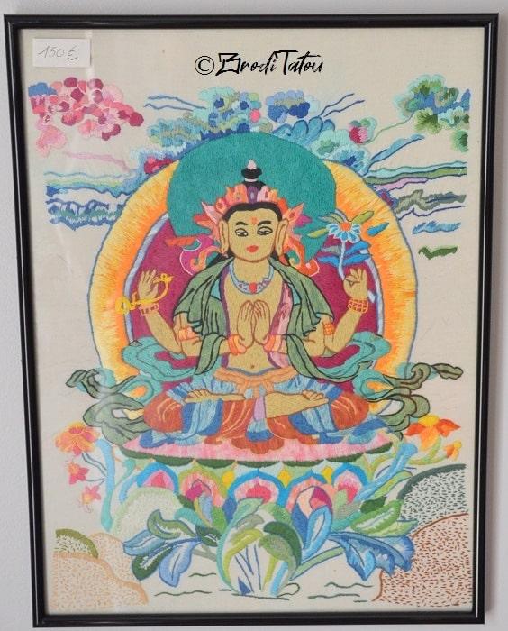 Tableau broderie Tangka bouddhiste